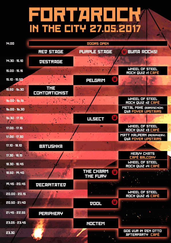 And heres the buma rocks and fortarock in the city time schedule